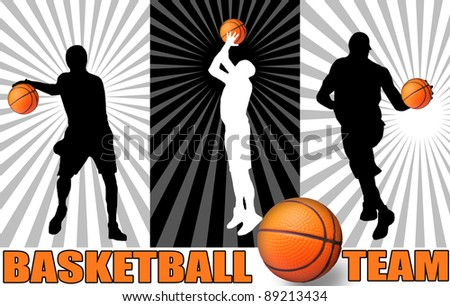 Basketball poster with players silhouettes, vector illustration - stock vector