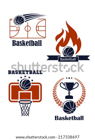 Basketball sport symbols with basketball balls, empty field, basket, board, fire, trophy cup and laurel wreath for sporting design - stock vector