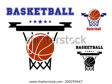 Basketball sports symbols logo with basket, ball and text with stars for sporting design - stock vector