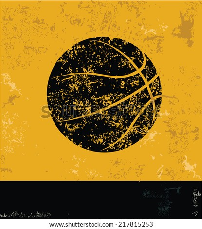 Basketball symbol on grunge yellow background,grunge vector - stock vector