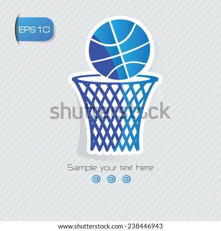 Basketball symbol,sticker design,blue version,clean vector - stock vector