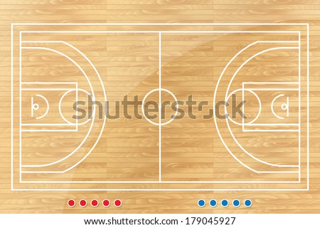 Basketball tactic table with marks. Vector illustration - stock vector