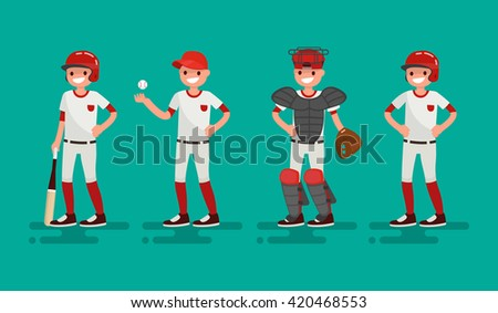 Basketball team. Batter, Pitcher, Catcher, Runner . Vector illustration of a flat design - stock vector