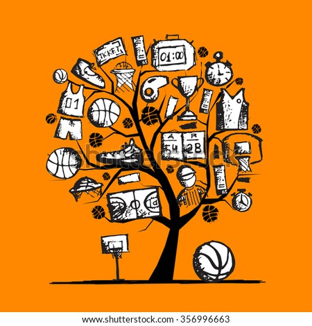 Basketball tree concept, sketch for your design. Vector illustration - stock vector