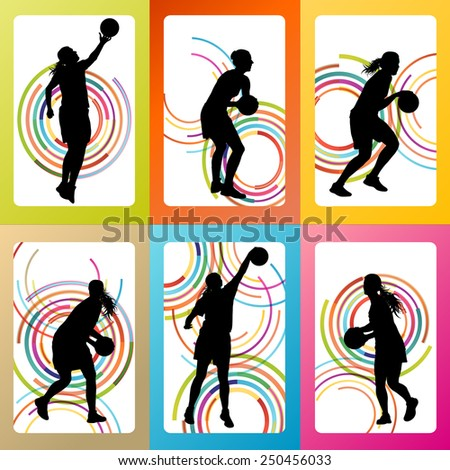 Basketball woman player vector background set concept - stock vector