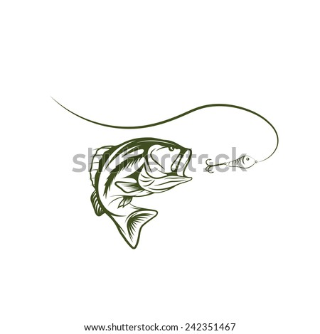 bass and lure vector design template - stock vector