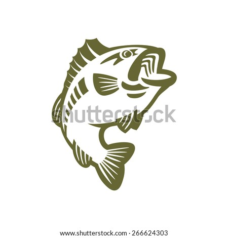 Bass fishing vector outline logo - stock vector