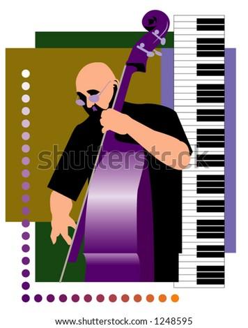 Bass Player - stock vector