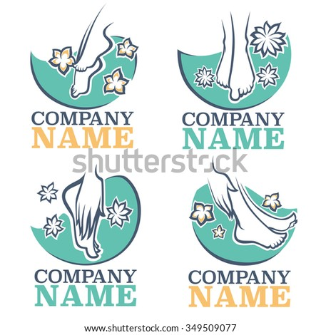 bath and spa for your foot, vector emblems - stock vector