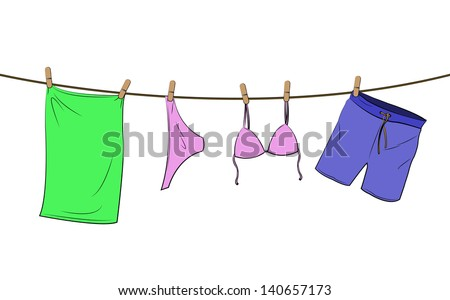 bathing things on a line - stock vector