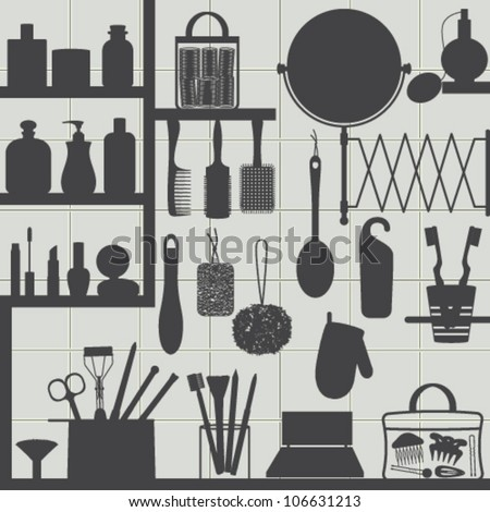 Bathroom accessories silhouettes on tiled background Silhouettes of bathroom objects on gray tiled wall. - stock vector