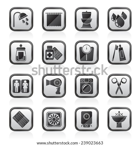 Bathroom and Personal Care icons- vector icon set 2 - stock vector