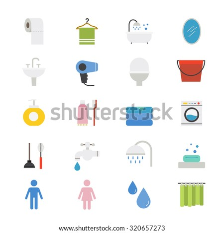 Bathroom and Toilet Flat Icons color - stock vector
