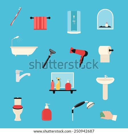 bathroom colorful flat design icons set. template elements - stock vector