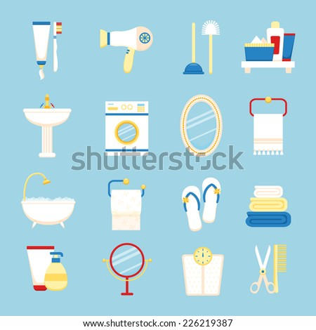 Bathroom icons colored set with toothpaste and brush hairdryer isolated vector illustration - stock vector