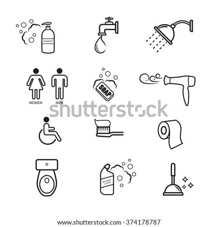 Bathroom icons set - stock vector