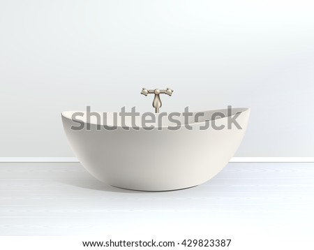 Bathroom interior poster bath in a modern style bathroom with golden accessories vector illustration - stock vector