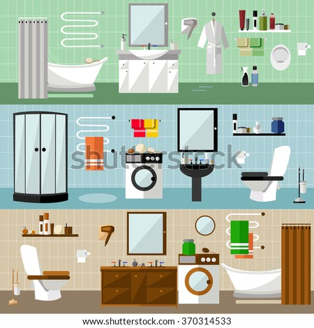 Bathroom interior with furniture. Vector illustration in flat style. Design elements, bathtub, washing machine, shower cubicle, mirror, shelves, towel, toilet. - stock vector