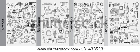 Bathroom, kitchen, furniture and cosmetics objects - stock vector