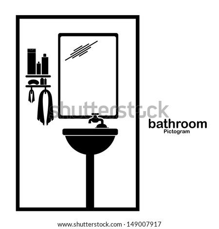 bathroom pictogram over white background vector illustration stock
