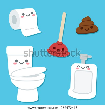 Bathroom related objects with cute cartoon faces. Toilet bowl and urinal, roll of toilet paper, plunger and a pile of poop. - stock vector
