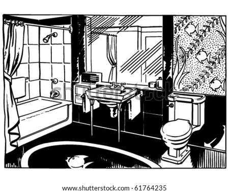 Bathroom 2 - Retro Clip Art - stock vector