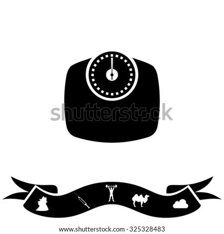 Bathroom scale. Black flat icon and bonus pictogram with ribbon. Vector illustration symbol - stock vector