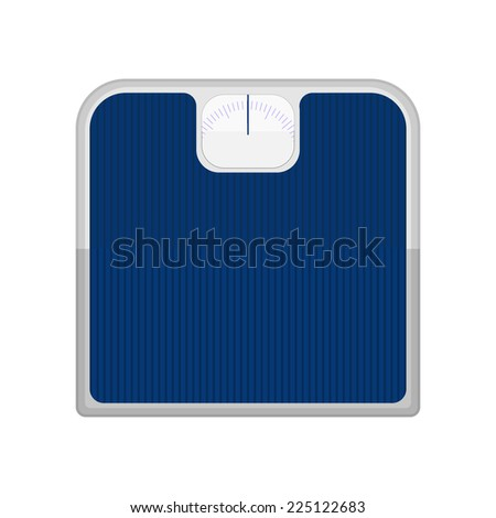 Bathroom scale. Blue bathroom scale isolated on a white background. - stock vector
