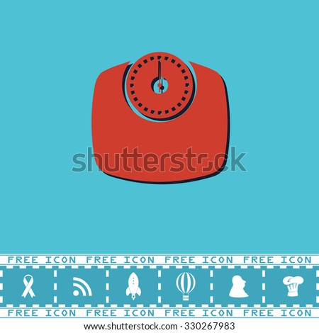 Bathroom scale. Red flat symbol with dark shadow and bonus icon. Simple vector illustration pictogram on blue background - stock vector