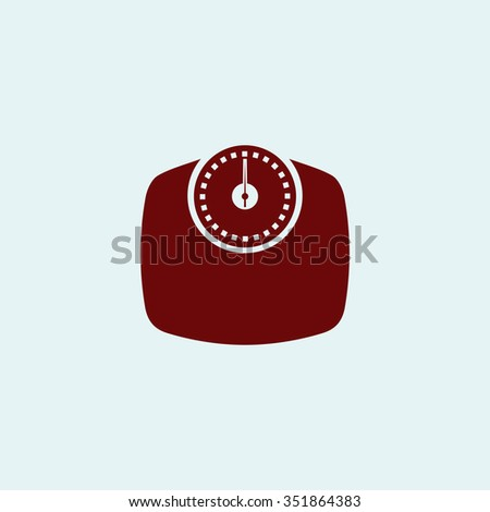Bathroom scale. Red vector icon. Simple modern illustration pictogram. Collection concept symbol for infographic project and logo - stock vector