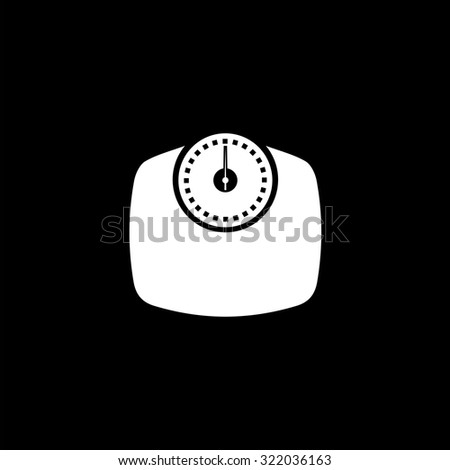 Bathroom scale. Simple flat icon. Black and white. Vector illustration - stock vector