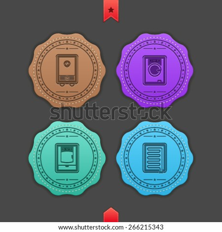 Bathroom Utensils and other related everyday things, from left to right - Gas heater, Washing machine, Dryer, Heater.  - stock vector