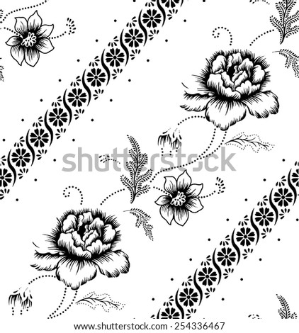 Batik fabric for the beautiful design of the background and stripes. - stock vector