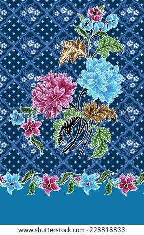Batik pattern on blue background. - stock vector