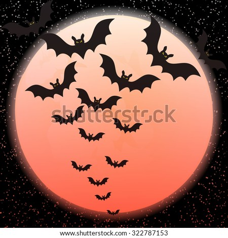 Bats against a disk of the moon and a scattering of stars red - stock vector
