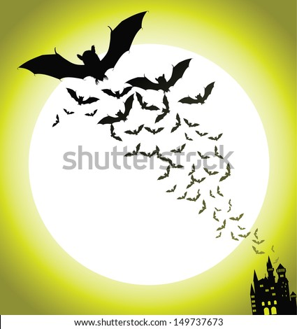 Bats and haunted house Halloween Background. EPS 10 vector, grouped for easy editing. No open shapes or paths. - stock vector