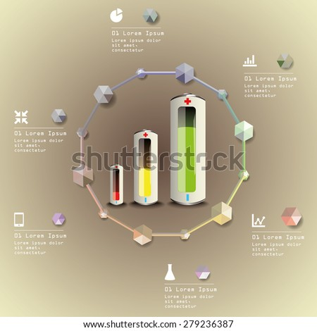 batteries infographic ecology concept vector illustration - stock vector