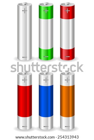 Batteries - vector drawing isolated on white background - stock vector
