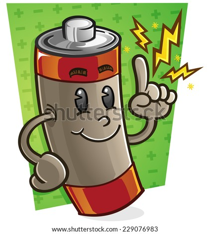 Battery Cartoon Character - stock vector