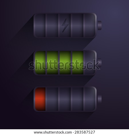 Battery Charge Indicator On Modern Black Background - stock vector