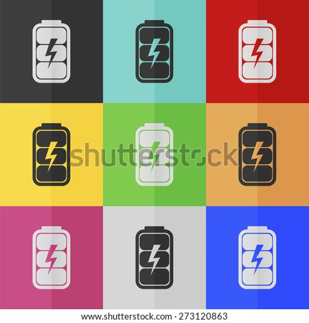 Battery charge level indicator vector icon - colored set. Flat design - stock vector