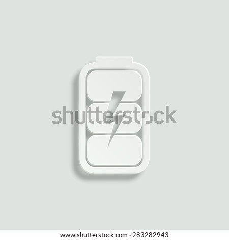 battery charge level indicator vector icon - paper illustration - stock vector