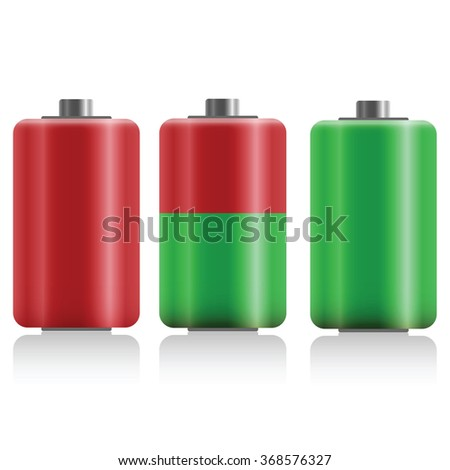 battery charge status, flat design  - vector illustration - stock vector