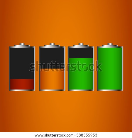 Battery charge status - vector illustration  icons - stock vector
