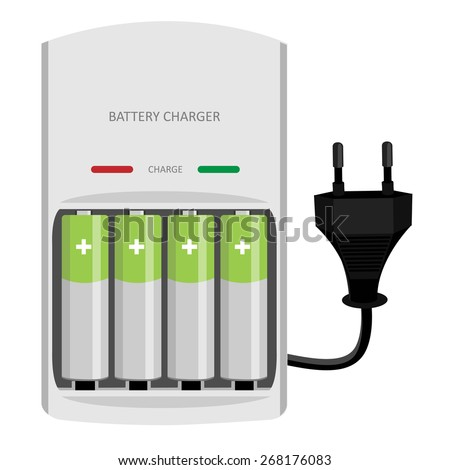 Battery charger with finger batteries and indicators low, high vector isolated, black electric plug in - stock vector