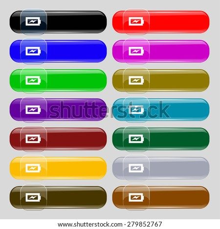 Battery charging  icon sign. Set from fourteen multi-colored glass buttons with place for text. Vector illustration - stock vector