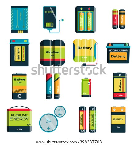 Battery electricity charge technology and alkaline battery. Flat battery accumulator charger symbol generation voltage. Group of different size color batteries electricity charge technology vector.  - stock vector