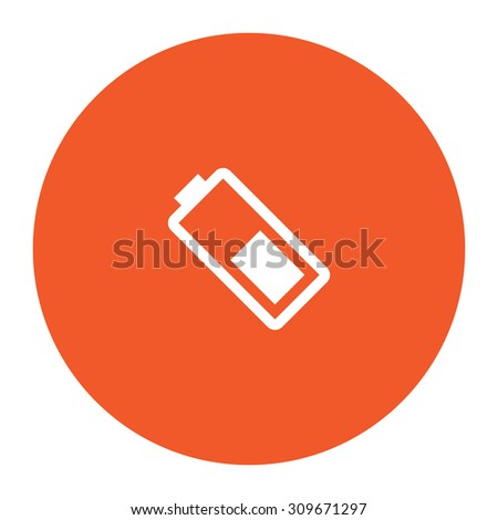 Battery. Flat white symbol in the orange circle. Vector illustration icon - stock vector