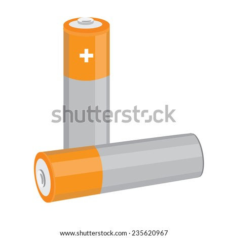Battery icon, battery vector, battery isolated, orange batteries - stock vector