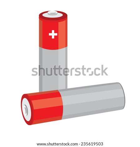 Battery icon, battery vector, battery isolated, red batteries - stock vector